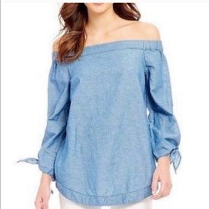 Free people jean off shoulder top size xs